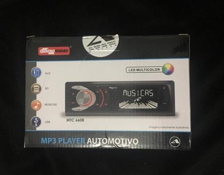 MP3 Player Automotivo Quatro Rodas MTC6608 1 Din 3 Pol USB SD AUX FM RCA