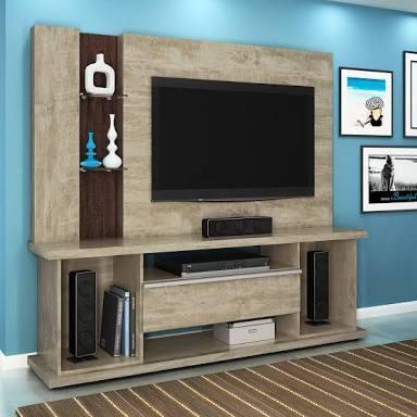 Home Ônix Lukaliam Com Rodízios e Prateleiras de vidro, Ideal P/ TVs até 55 Polegadas;