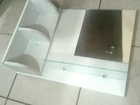 Painel Mdf Branco Espelho Prateleira para Banheiro novo!