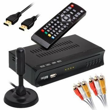 Kit Full hd Conversor Digital Infokit + Antena Digital Hdtv Novo Garantia Frete Grátis