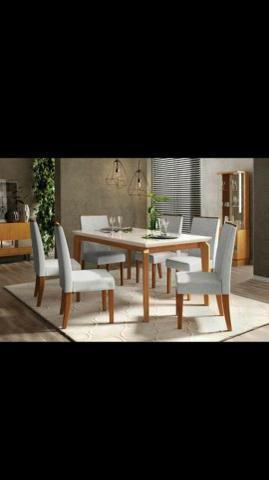 Sala de Jantar Mesa Rouge Com Seis Cadeiras Super Promoção