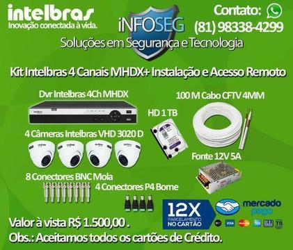 Mhdx Intelbras 4 Câmeras + Instalação + Acesso Remoto