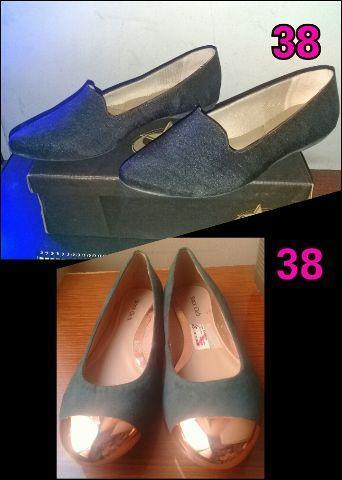 Sapatilha e sapato Número 38 Novos por 20 reais