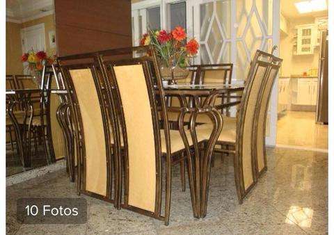 Mesa Quadrada De Vidro Com 8 Cadeiras+aparador+mesa Centro