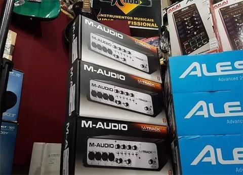 Interface de áudio usb m-audio mtrack quad v2(produto novo)