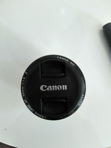 Lente Canon 50mm 1.8 com filtro com canta de limpar lente (Lenspen)