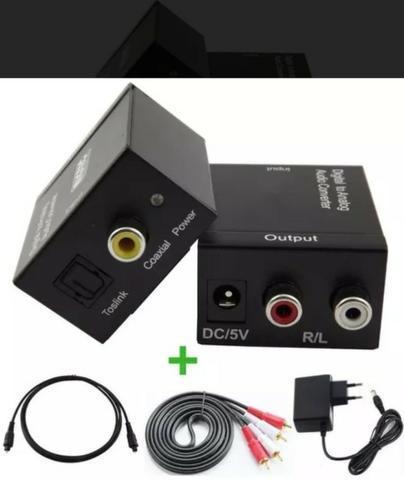 Adaptador De Áudio Digital Toslink P/ Rca+ Cabo Óptico + Rca