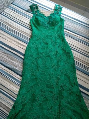 Vestido de festa longo renda verde esmeralda