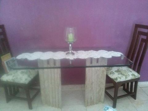 Mesa de Jantar -vidro bisote e mármore