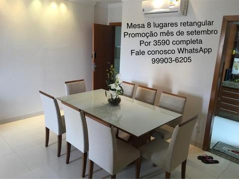 Mesa design moderno com 8 cadeiras madeira e pintura Laka luxo