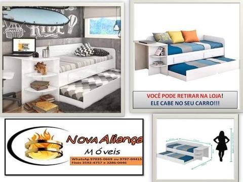 Se preferir retire na loja!Chame 97970-4415 Sofá cama Helen com escrivaninha-Móveis em Ger