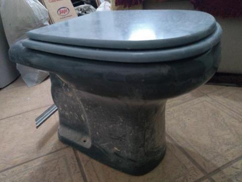 Vaso sanitário com tampa de madeira laqueada e inox e válvula para descarga cinza