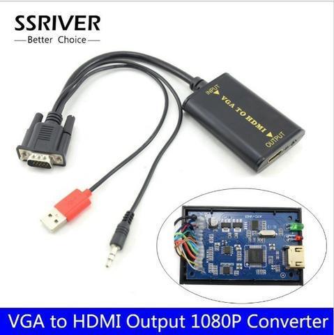 Vga para hdmi Conversor 1080p hd Conversor de Áudio Adaptador vga2hdmi Conversor hdtv Cabo