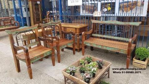 Bancos de jardins madeira e ferro em
