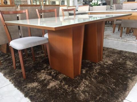 Mesa eldorado sala de jantar retangular laqueada branca e mel