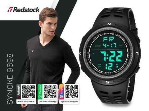 Redstock | 3x Sem Juros + Frete Grátis * Relógio Synoke 9698 Digital Sports Masc - Preto