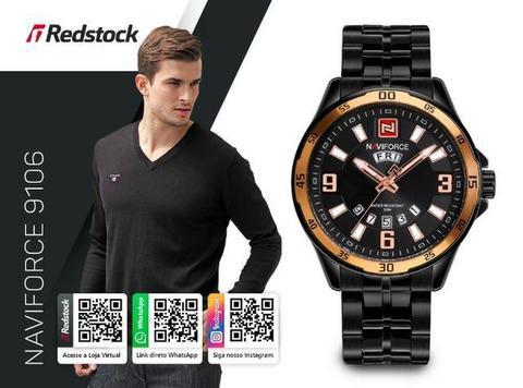 Relógio Naviforce® 9106 Masc Aço Inox - Preto com Dourado * 3x Sem Juros e Frete Grátis