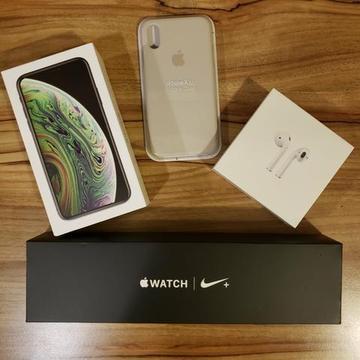 IPhone XS: o kit dos sonhos! XS 256 + Watch 4 Nike GPS Celular + Airpods + case silicone