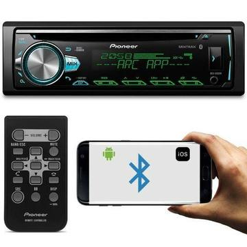 CD Player Automotivo Pioneer DEH-X50BR 1 Din Bluetooth USB Aux Rca MP3 Android IOS Spotify