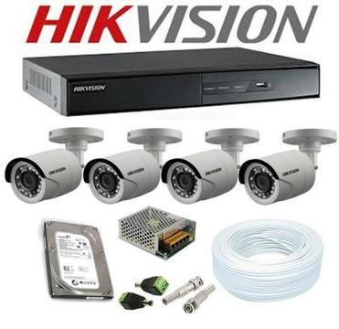 Kit em HD: Dvr 4ch + 4 câmeras de segurança Hikvision 1.0MP + HD 500GB. Já Instalado. Só R