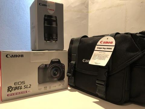 NOVO!!! KIT: Camera Canon EOS Rebel SL2 + Bolsa + Lente Zoom Telefoto