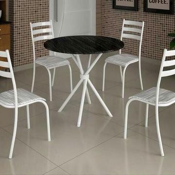 Mesa Redonda Com 4 Cadeiras Conjunto - Ipanema tampo granito Pague na entrega