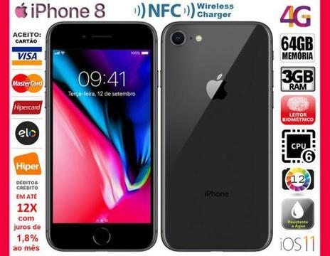 IPhone 8 4G Preto 64GB Hexa Core, 3GB Ram, Tela 4.7?, Câm 12MP, Novo, Caixa, NF, Gar Troco