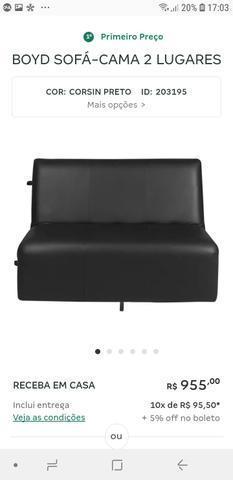 Sofá cama couro