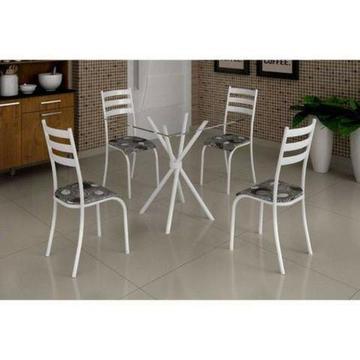 Mesa Ipanema com tampo de vidro ou granito e 4 cadeiras