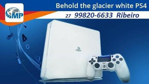 Playstation 4 Slim Branco! Novo! Completo! Lacrado!!! Melhor preço do ES!! opção 12x