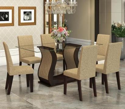 Conjunto De Mesa Para Sala De Jantar Detalhes Com Vidro 6 Cadeiras Nogueira/Gold