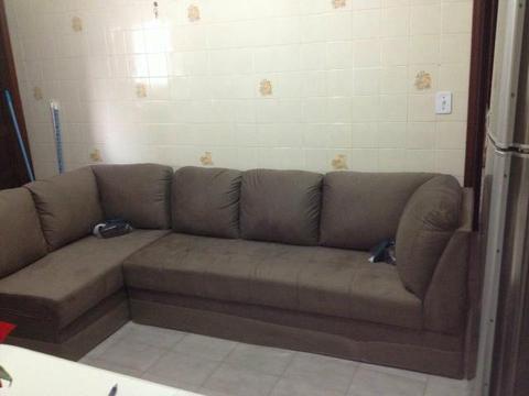 Jogo de sofá de 02 e 03 lugares em L, modelo master royal, na cor suede castor