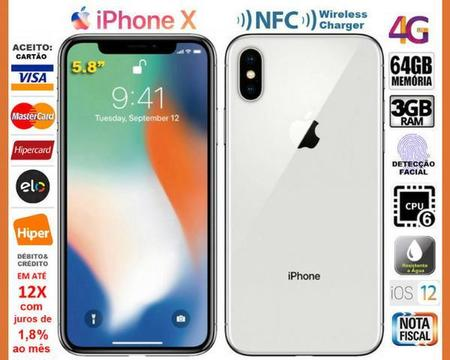 IPhone X Prata 4.5G Nacional Hexa Core 3GB Tela 5.8