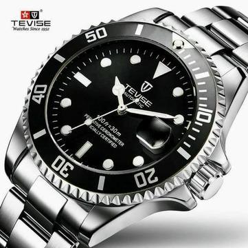 Relógio Mecânico Homem Tevise T801a Bracelete Inoxidável